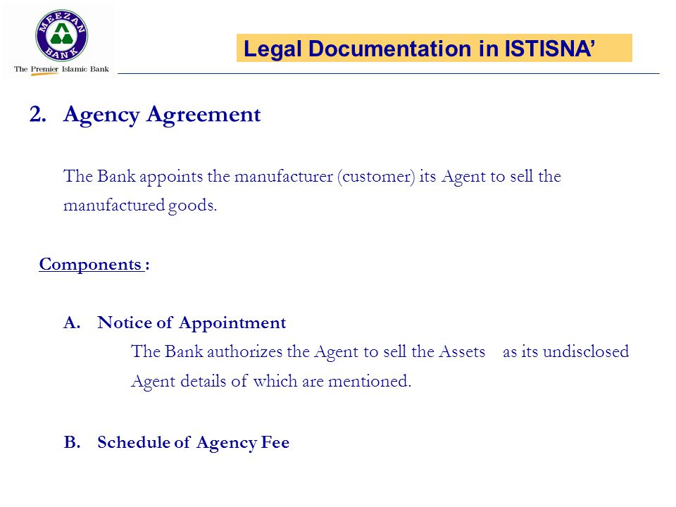 Agency Agreement Legal Documentation in ISTISNA'
