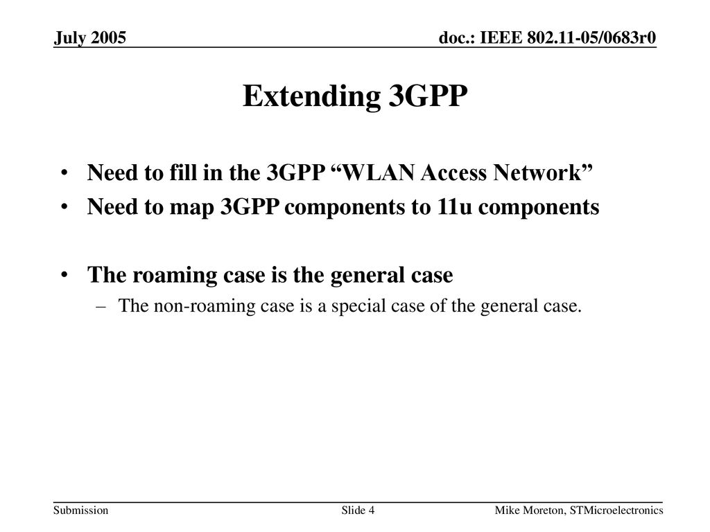 Extending 3GPP Need to fill in the 3GPP WLAN Access Network