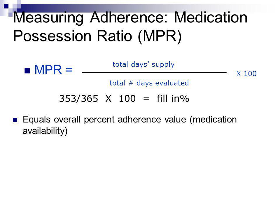 Measuring Adherence: Medication Possession Ratio (MPR)