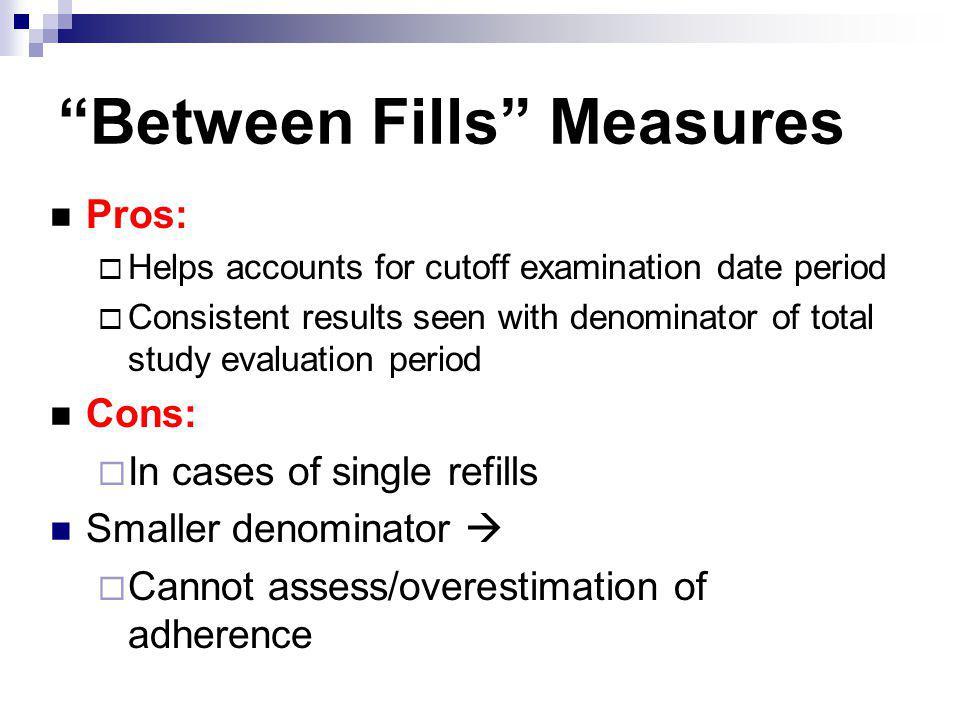 Between Fills Measures