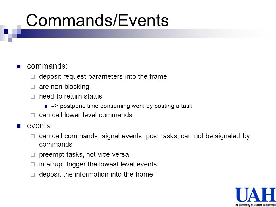 Commands/Events commands: events:
