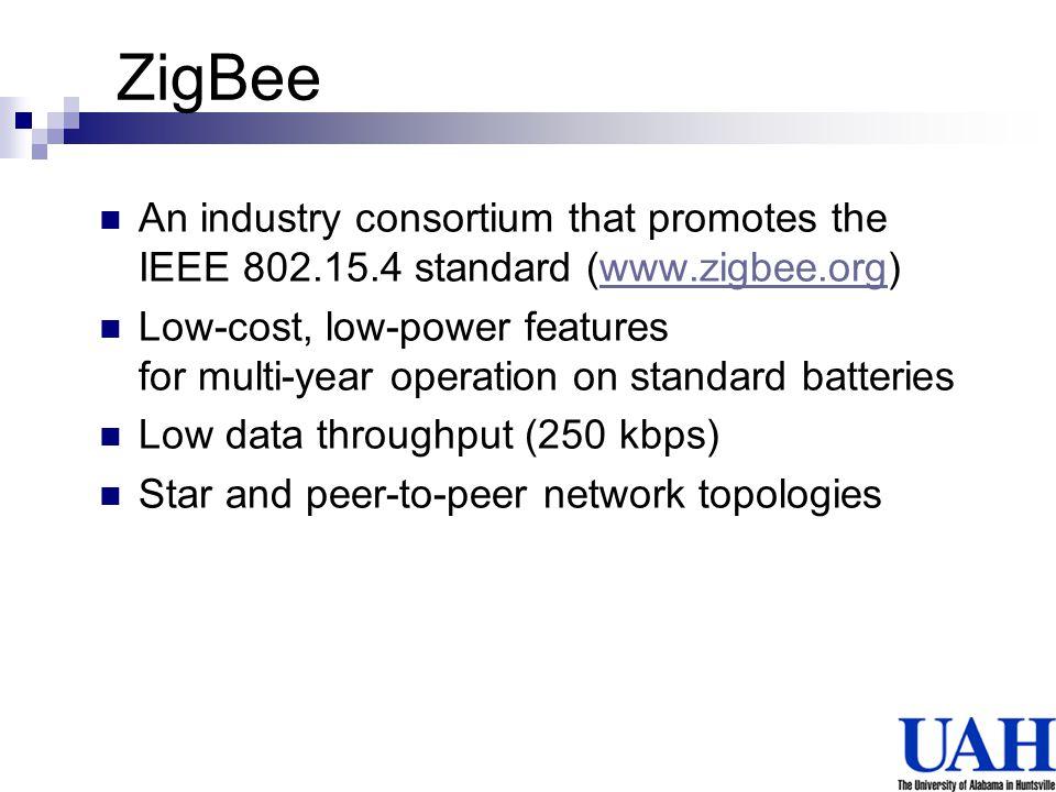 ZigBee An industry consortium that promotes the IEEE 802.15.4 standard (www.zigbee.org)