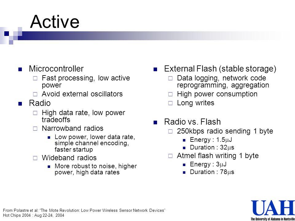 Active Microcontroller Radio External Flash (stable storage)