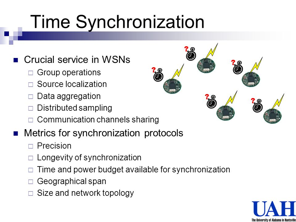 Time Synchronization Crucial service in WSNs