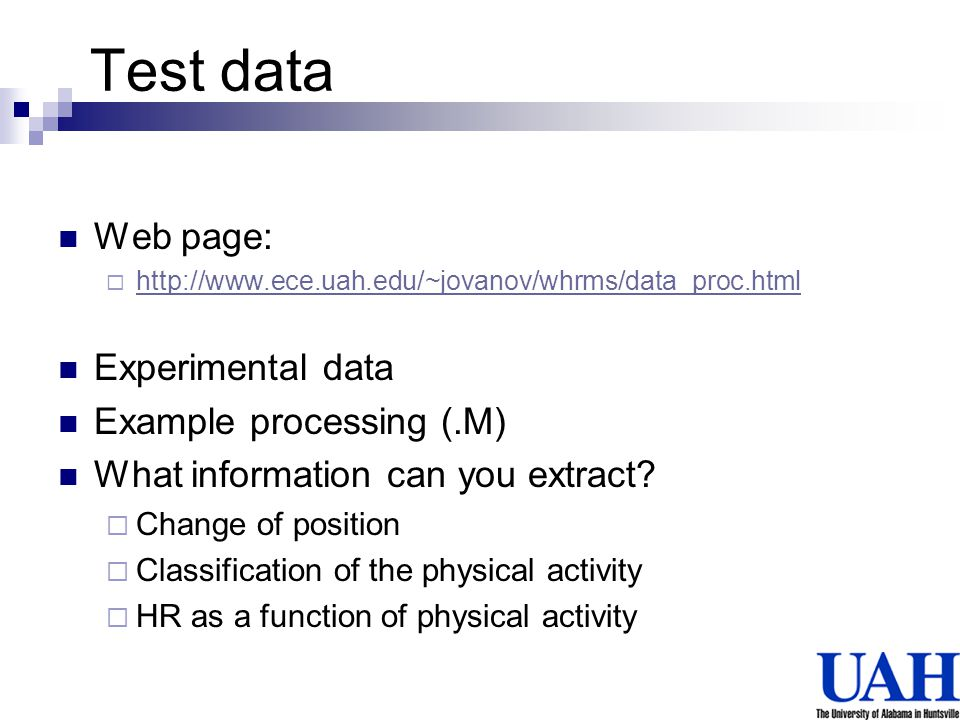 Test data Web page: Experimental data Example processing (.M)