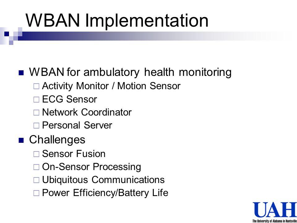 WBAN Implementation WBAN for ambulatory health monitoring Challenges