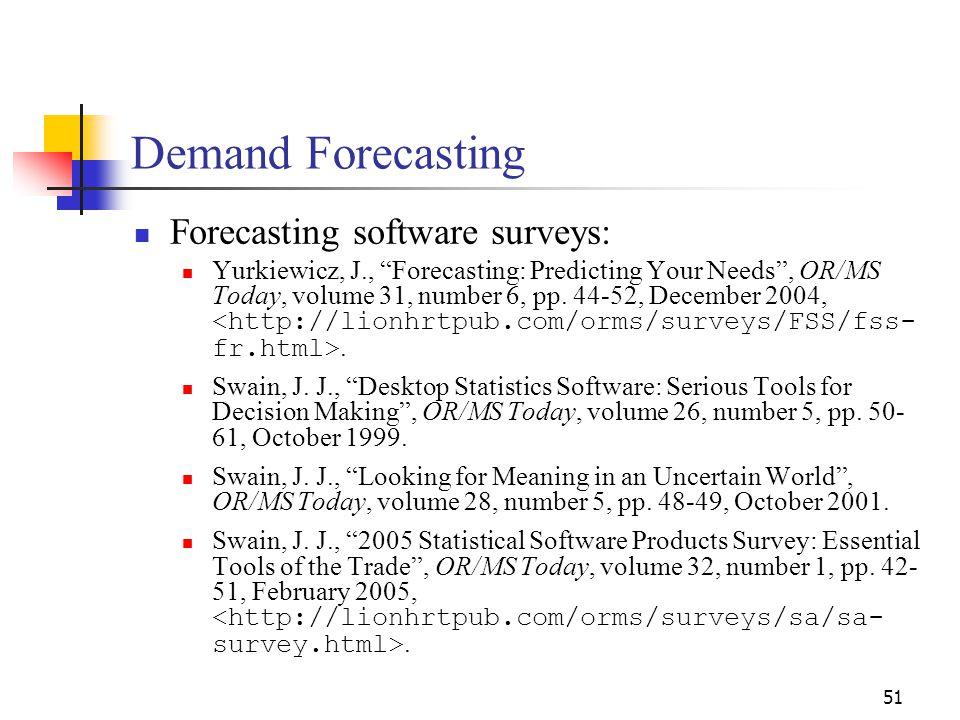 Demand Forecasting Forecasting software surveys: