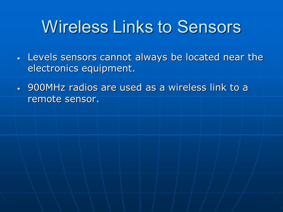 Wireless Links to Sensors