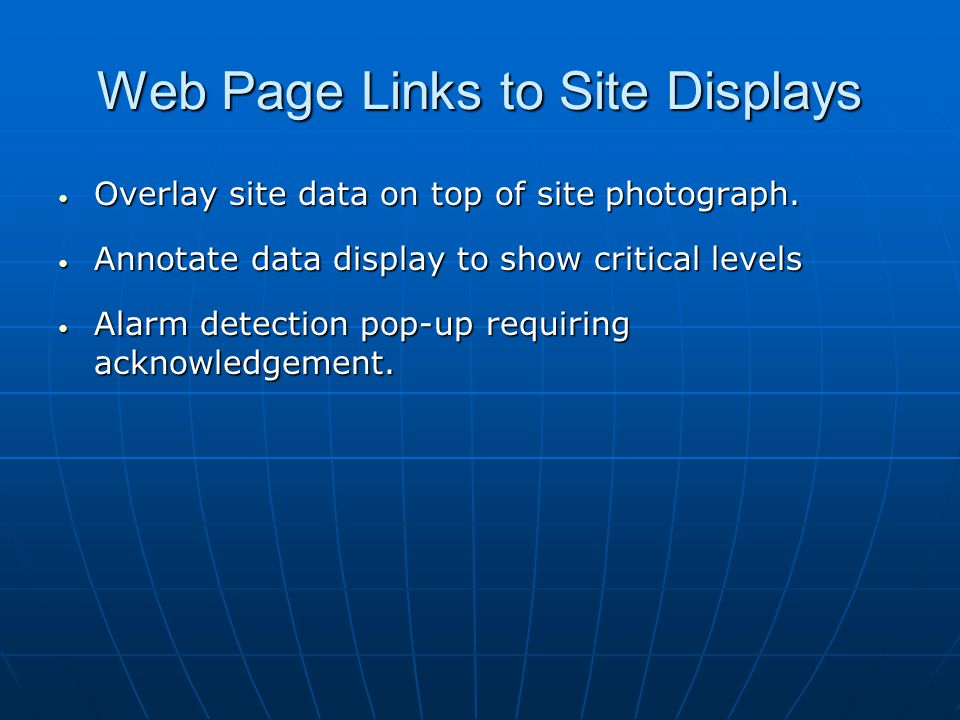 Web Page Links to Site Displays