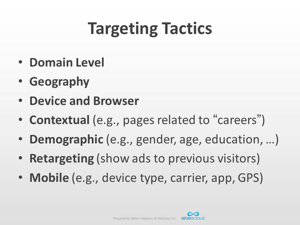 Targeting Tactics Domain Level Geography Device and Browser