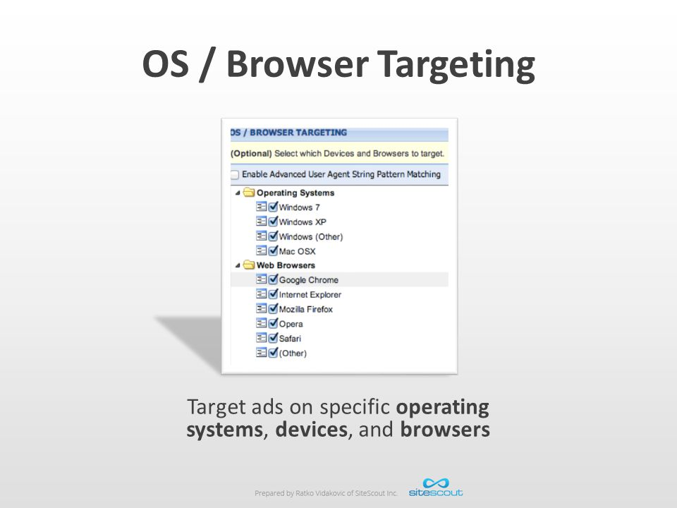 Target ads on specific operating systems, devices, and browsers
