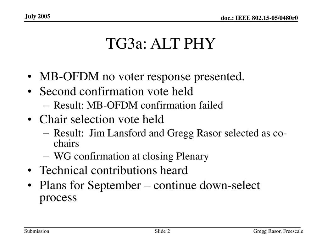 TG3a: ALT PHY MB-OFDM no voter response presented.
