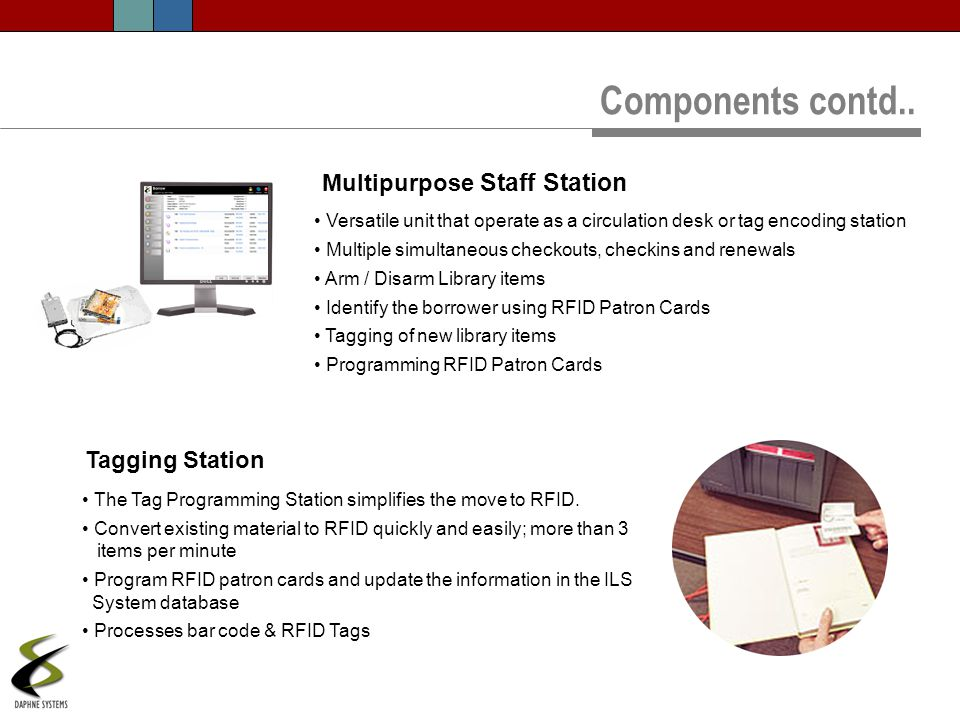 Components contd.. Multipurpose Staff Station Tagging Station