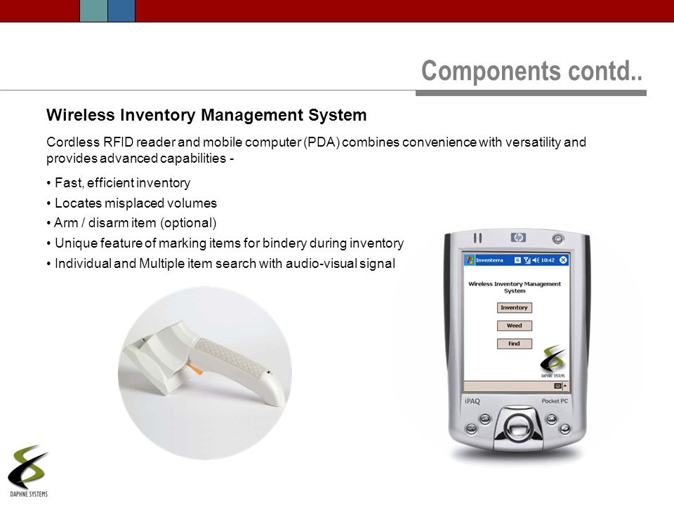 Components contd.. Wireless Inventory Management System