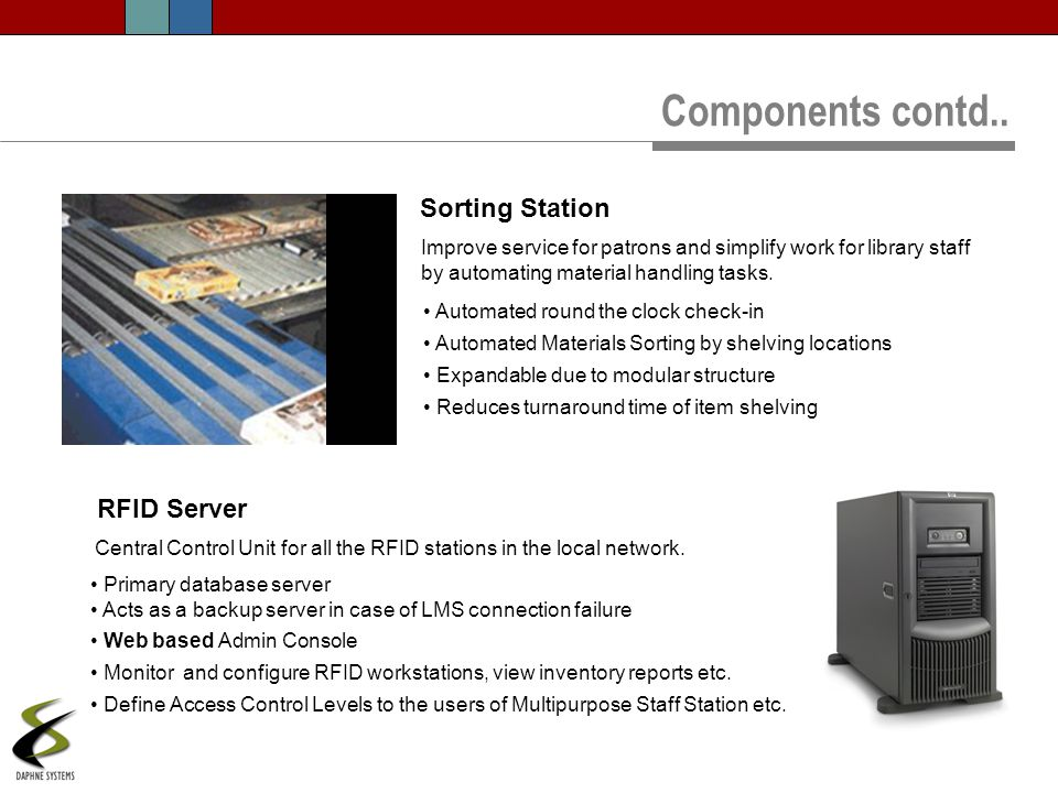 Components contd.. Sorting Station RFID Server