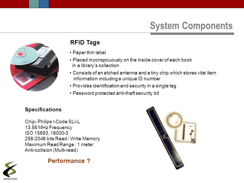System Components RFID Tags Performance Specifications