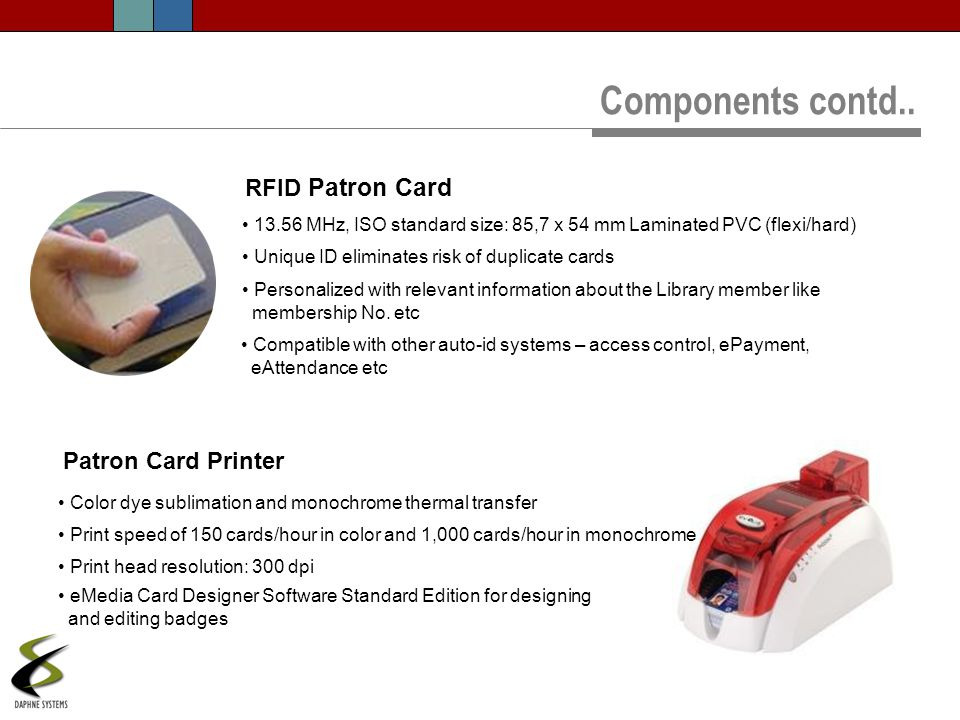 Components contd.. RFID Patron Card Patron Card Printer