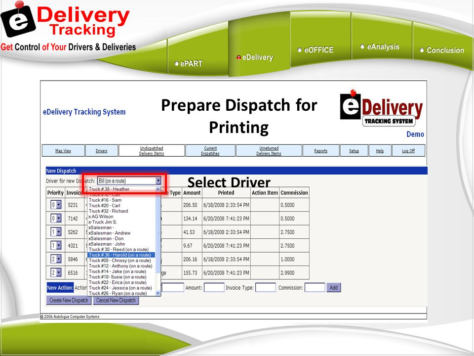 Prepare Dispatch for Printing