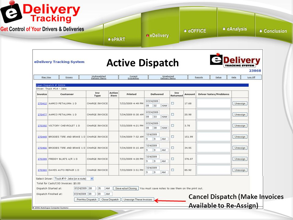Active Dispatch Cancel Dispatch (Make Invoices Available to Re-Assign)