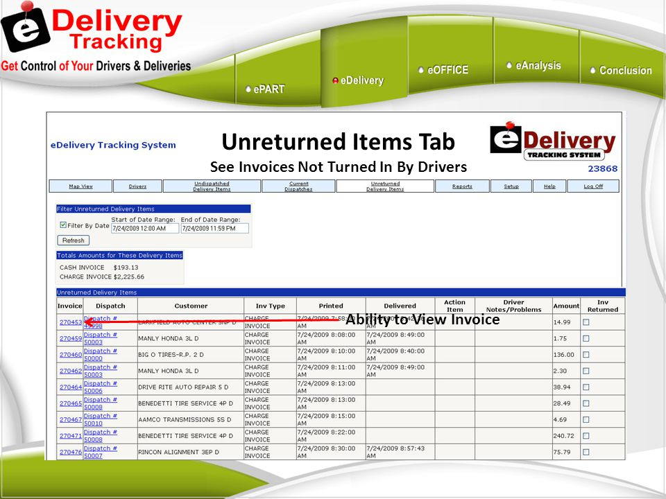 See Invoices Not Turned In By Drivers