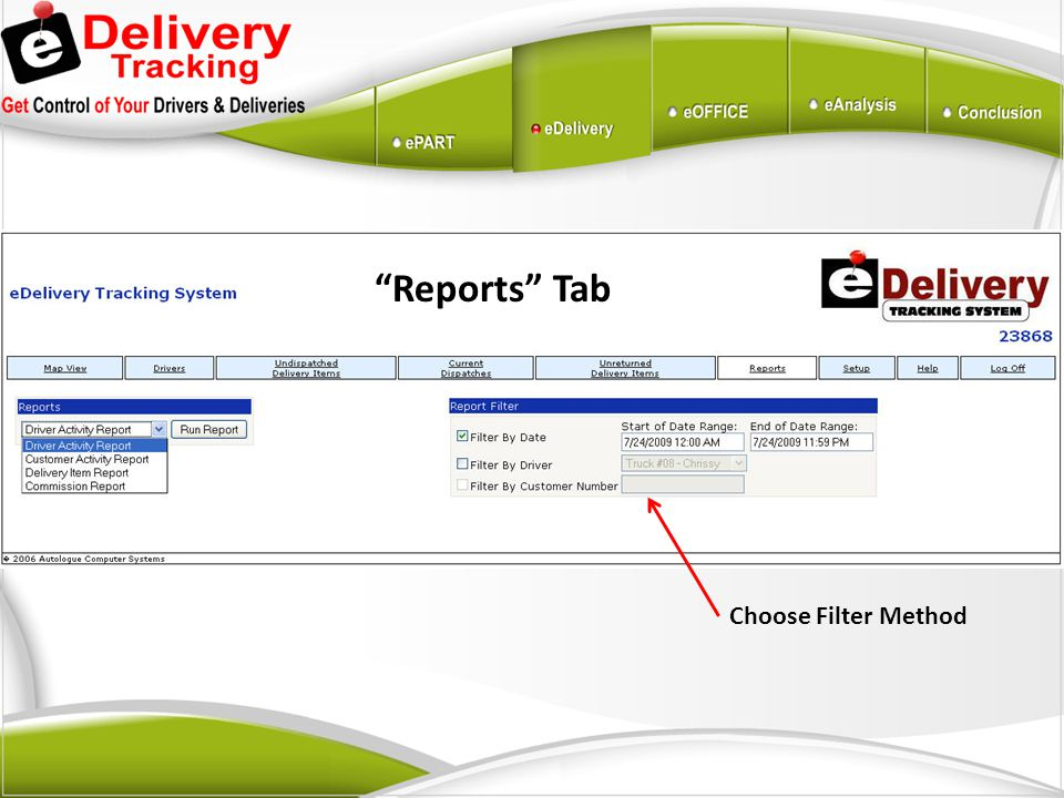 Reports Tab Choose Filter Method