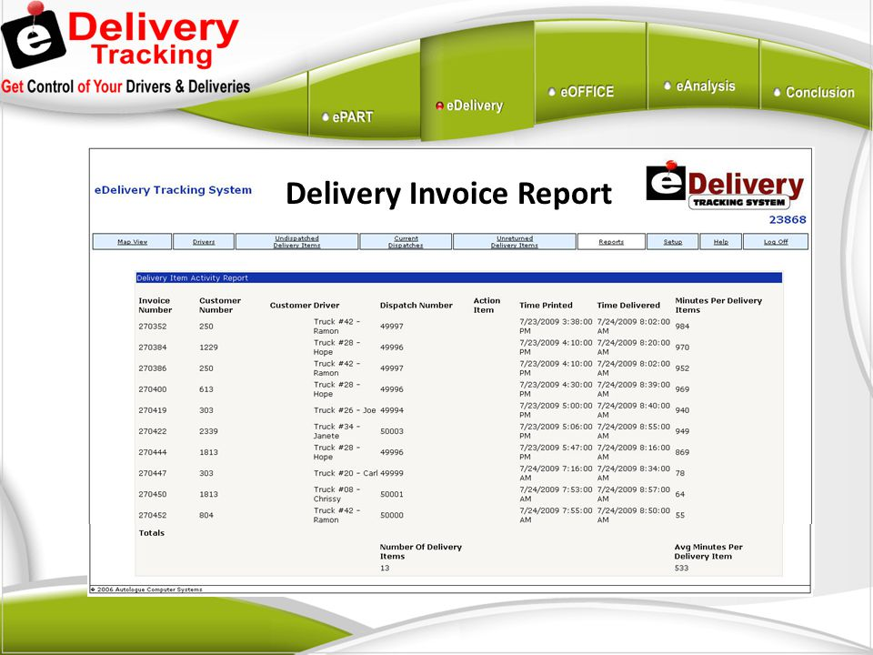 Delivery Invoice Report
