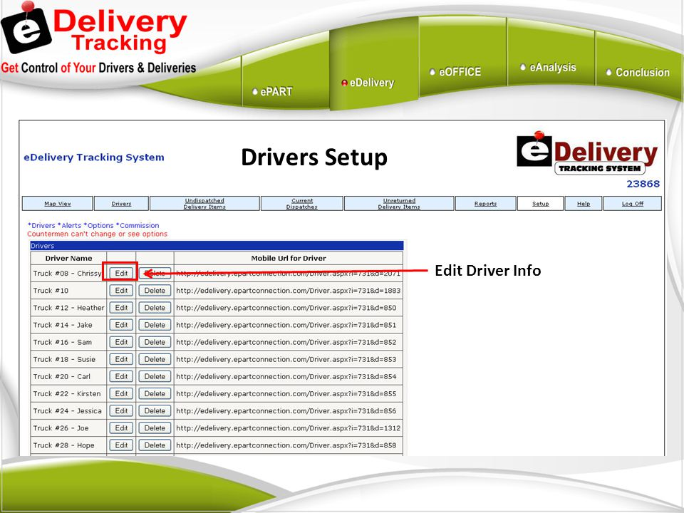 Drivers Setup Edit Driver Info