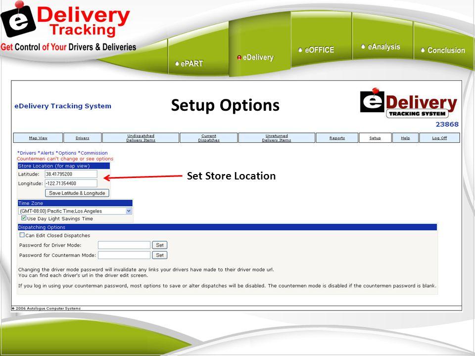 Setup Options Set Store Location