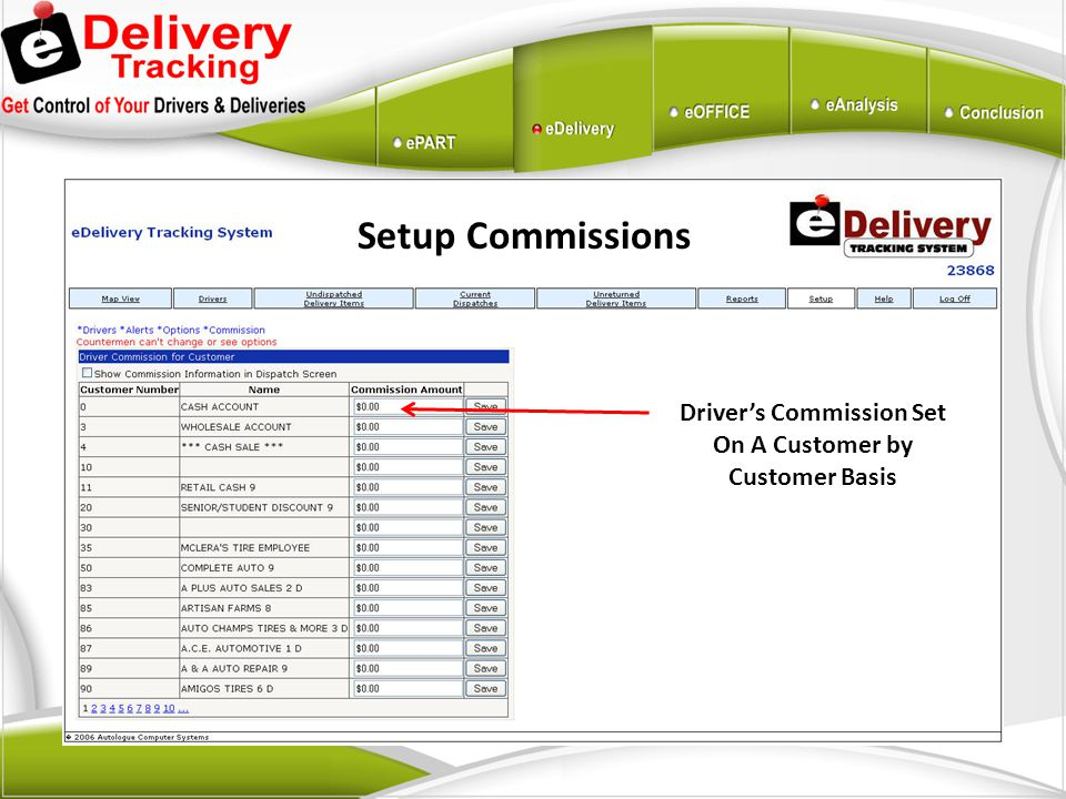 Driver's Commission Set On A Customer by Customer Basis