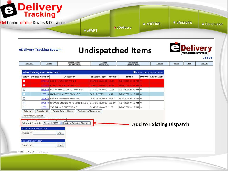 Add to Existing Dispatch