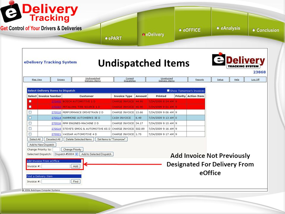 Add Invoice Not Previously Designated For Delivery From eOffice