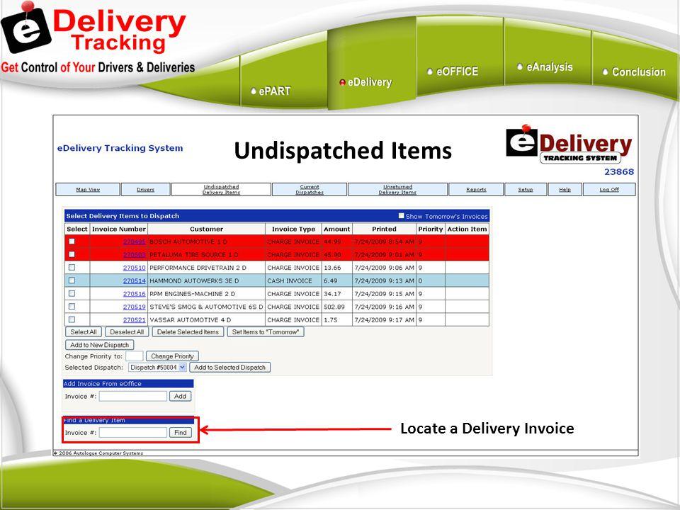 Locate a Delivery Invoice
