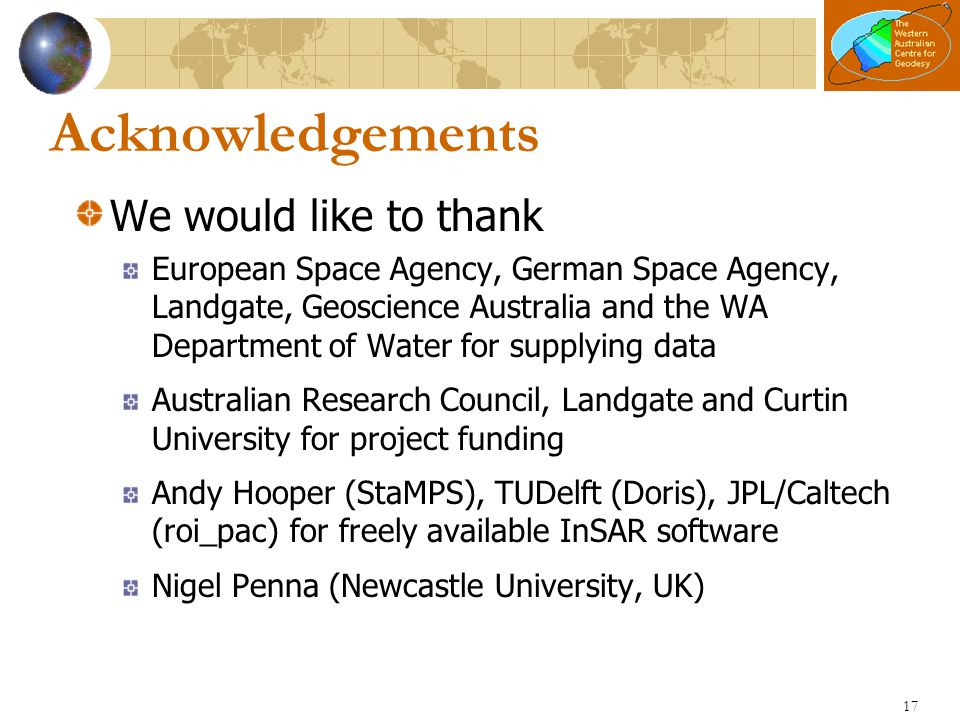 Acknowledgements We would like to thank
