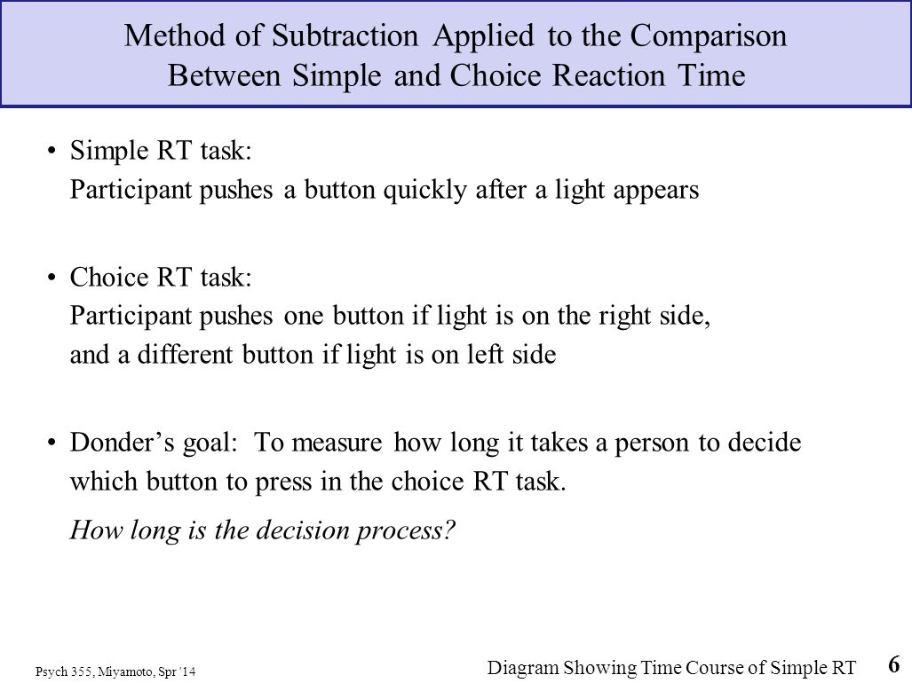 Method of Subtraction Applied to the Comparison Between Simple and Choice Reaction Time