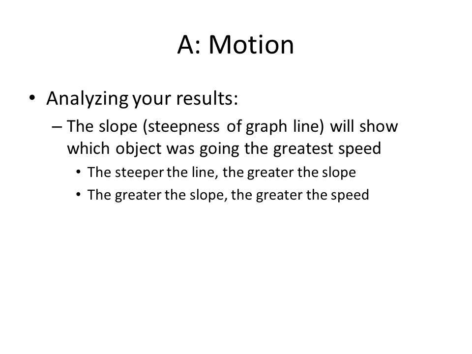 A: Motion Analyzing your results: