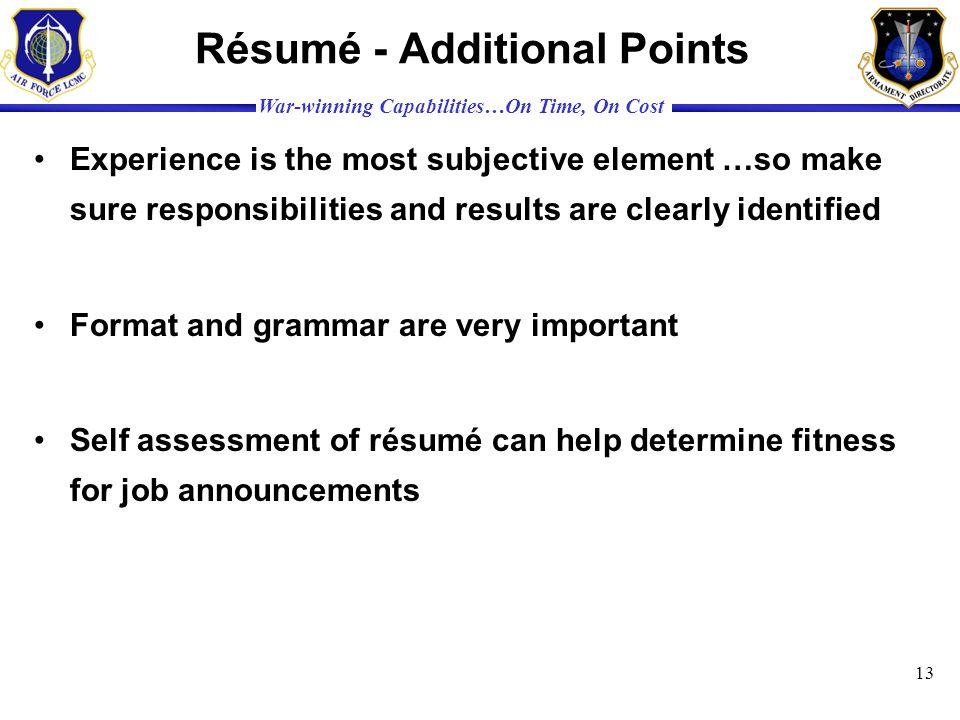 Résumé - Additional Points