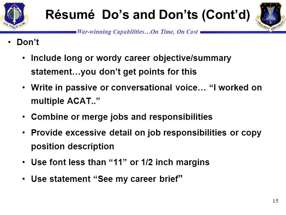 Résumé Do's and Don'ts (Cont'd)