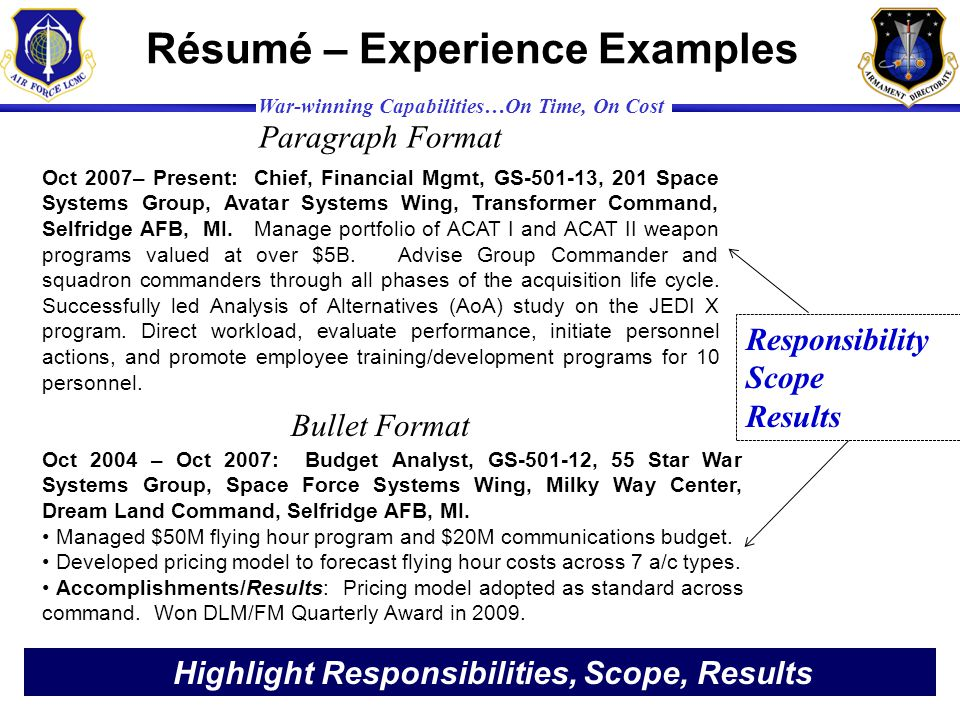 Résumé – Experience Examples