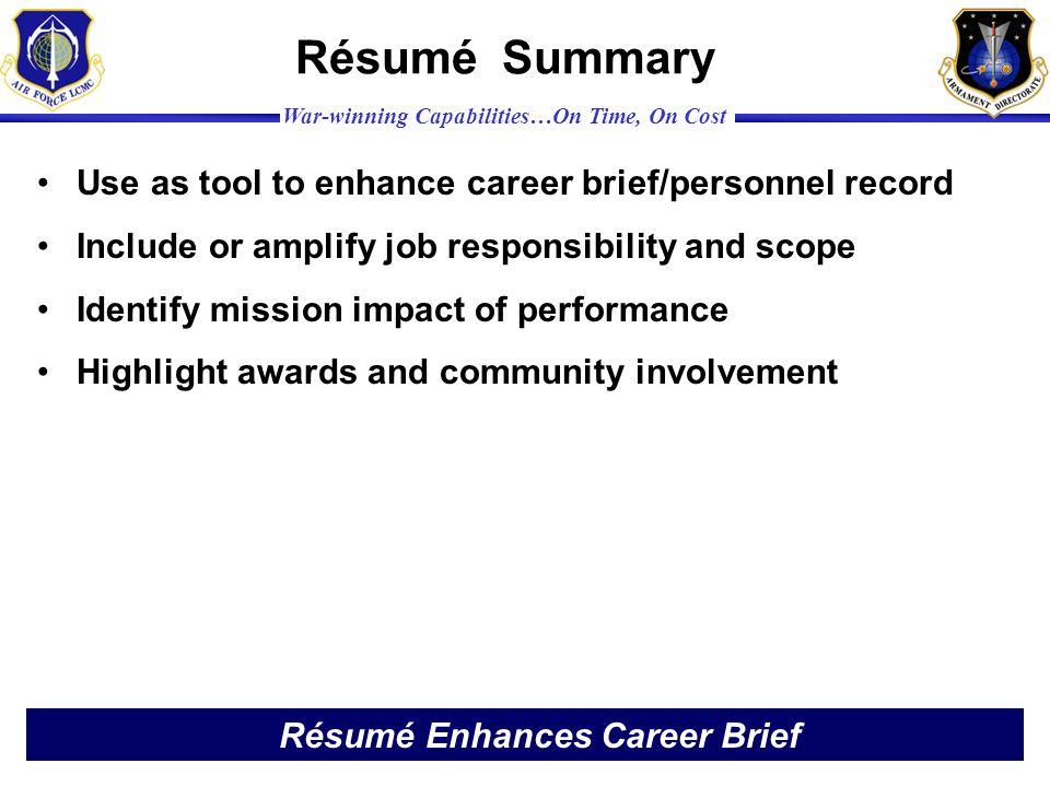 Résumé Enhances Career Brief
