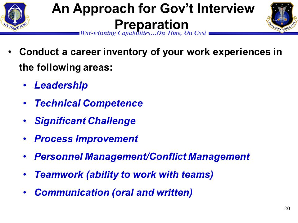 An Approach for Gov't Interview Preparation