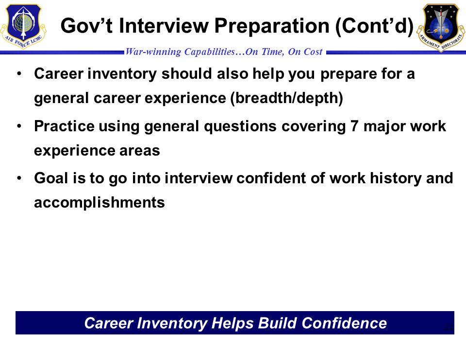 Gov't Interview Preparation (Cont'd)
