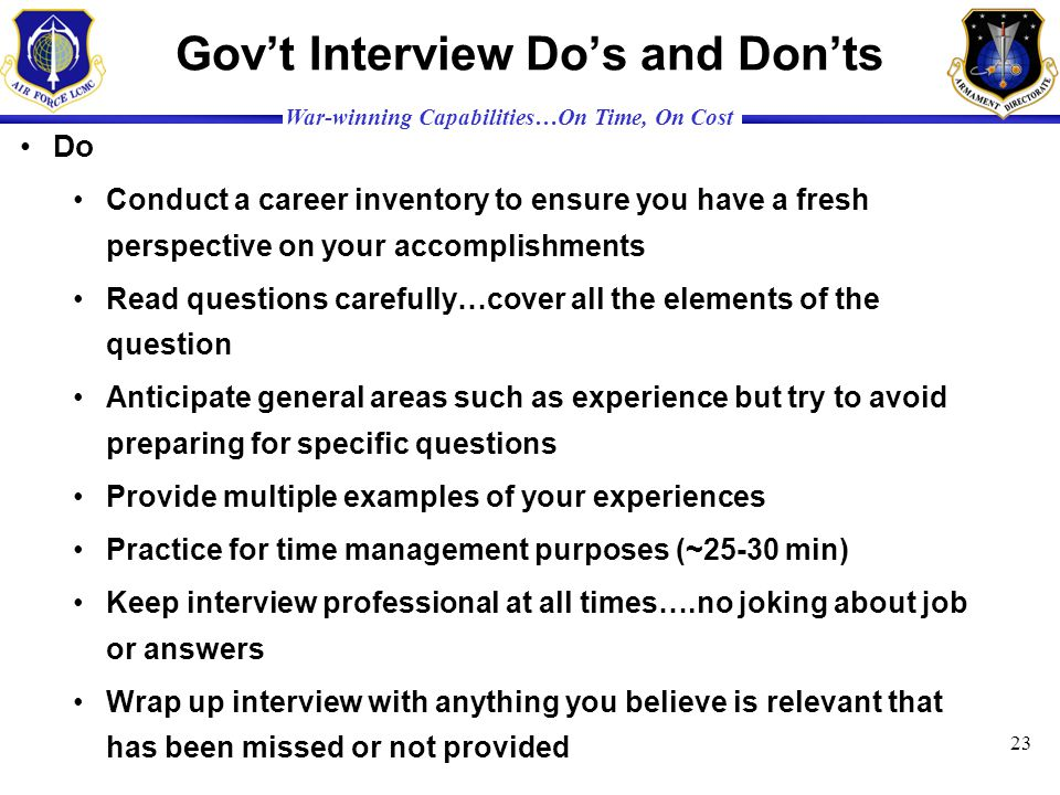 Gov't Interview Do's and Don'ts
