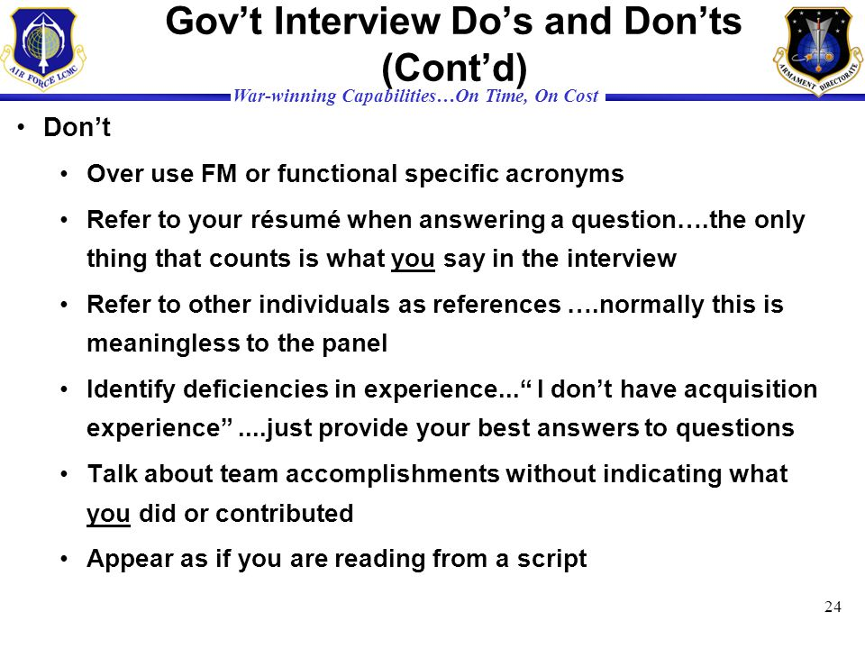 Gov't Interview Do's and Don'ts (Cont'd)