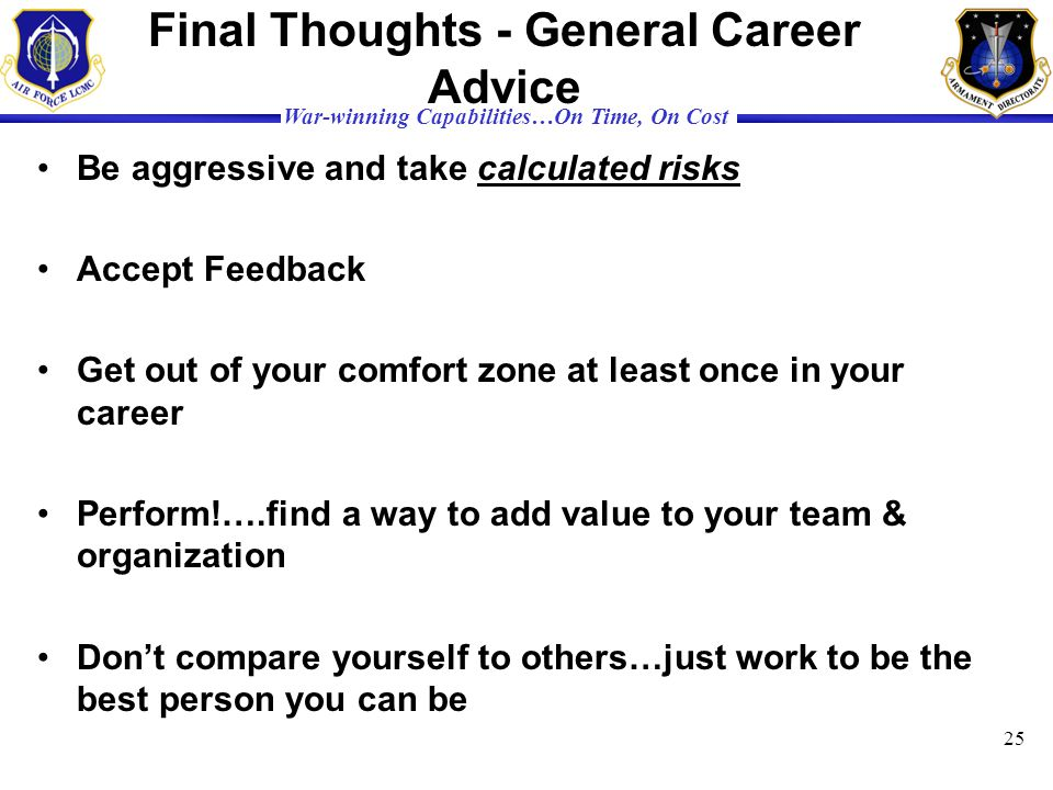 Final Thoughts - General Career Advice