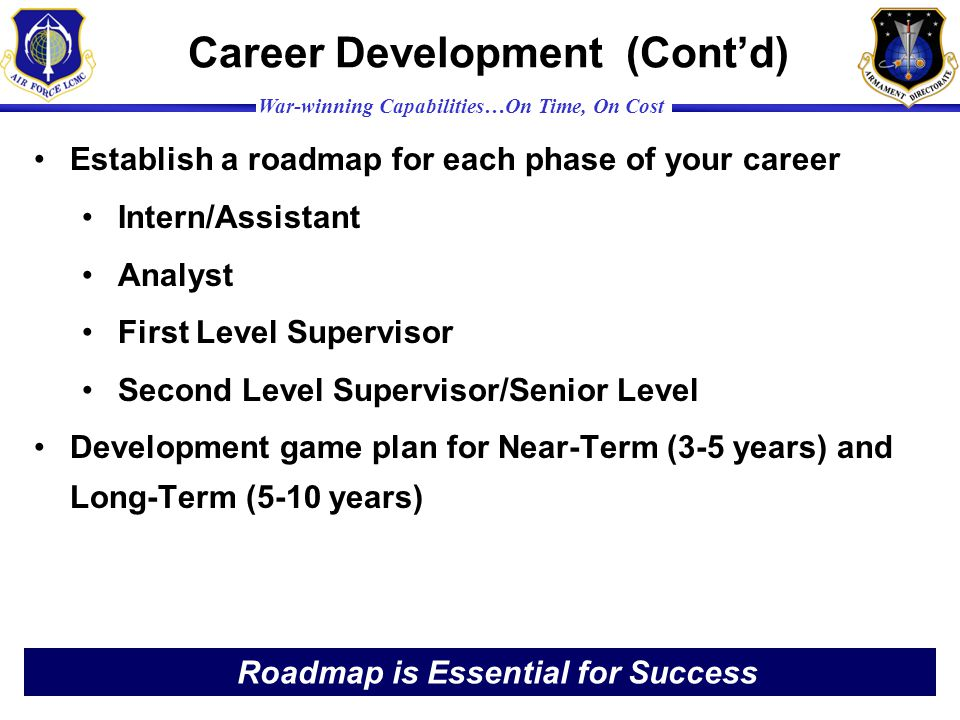 Career Development (Cont'd)