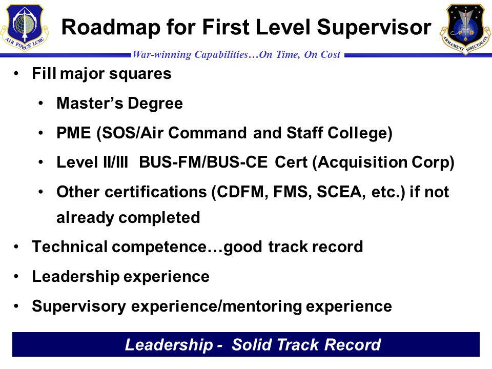 Roadmap for First Level Supervisor