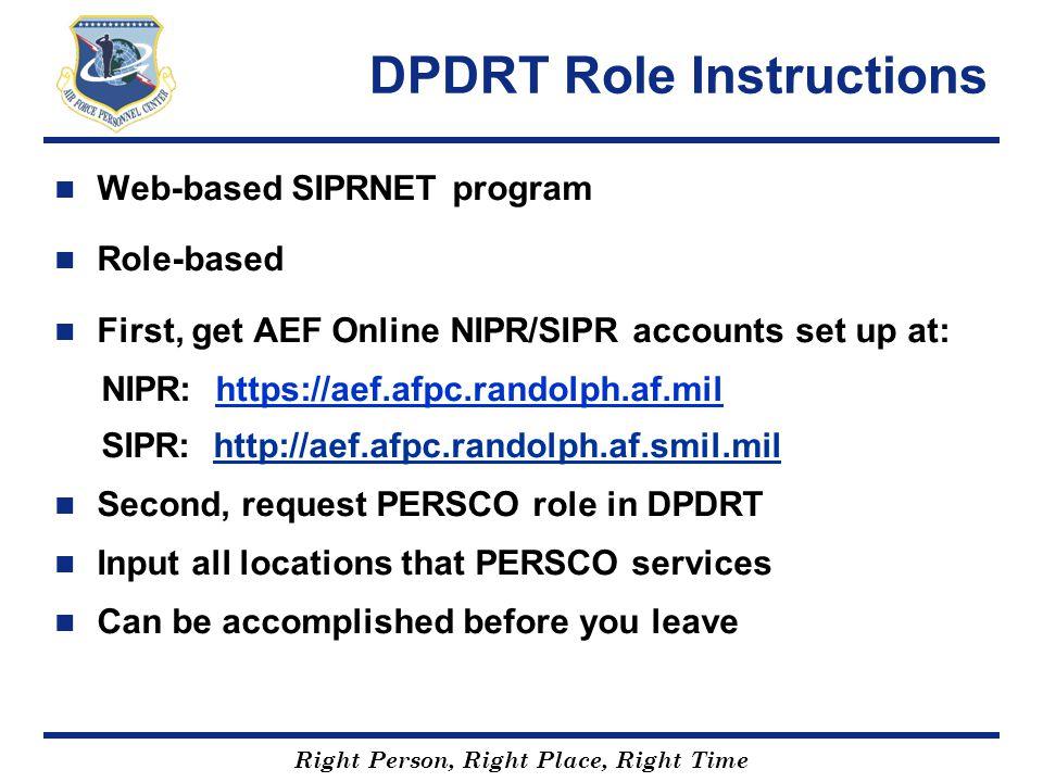 DPDRT Role Instructions
