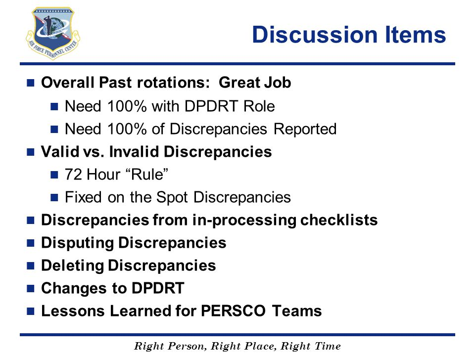 Discussion Items Overall Past rotations: Great Job