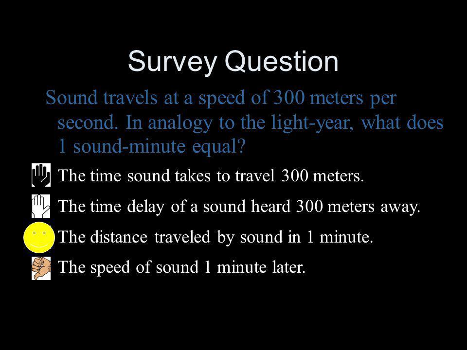Survey Question Sound travels at a speed of 300 meters per second. In analogy to the light-year, what does 1 sound-minute equal