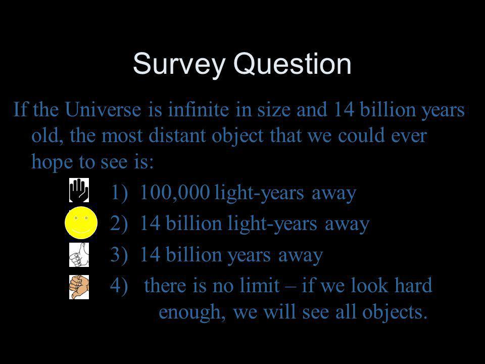 Survey Question If the Universe is infinite in size and 14 billion years old, the most distant object that we could ever hope to see is: